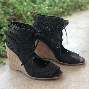 Jeffrey Campbell Rodillo Brown Laser Cut Wedges